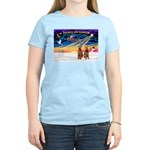 XmasSunrise/2 Airedales Women's Light T-Shirt