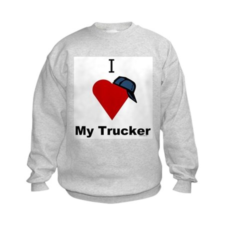 I Love My Trucker Kids Sweatshirt