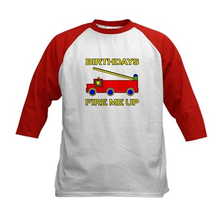 Fire Engine Birthday Kids Baseball Jersey