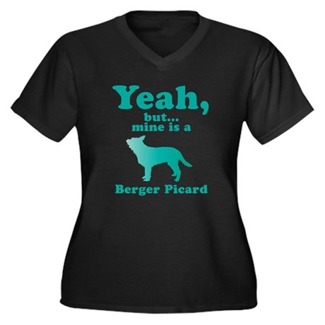 Berger Picard Women's Plus Size V-Neck Dark T-Shir