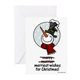 merriest snowman wishes Greeting Cards (Pk of 10)