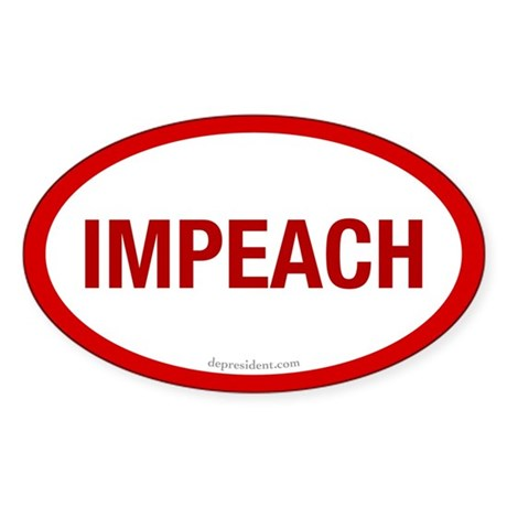 Red Impeach Oval Sticker