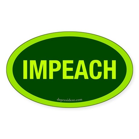 Green Impeach Oval Sticker
