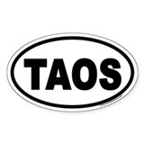 Taos, New Mexico &quot;TAOS&quot; Euro Style Oval Bumper Stickers