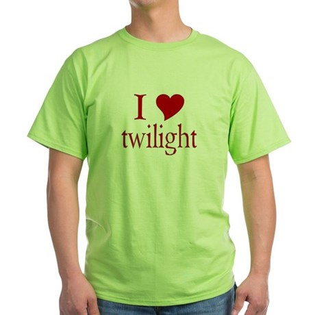 I love (heart) twilight Green T-Shirt