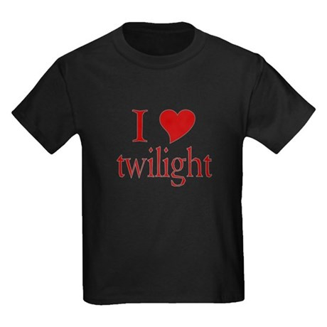 I love (heart) twilight Kids Dark T-Shirt