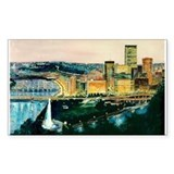 Pittsburgh at Dusk Rectangle Decal