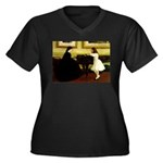 At the Piano Women's Plus Size V-Neck Dark T-Shirt