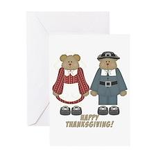 Thanksgiving Pilgrim Bears Greeting Card