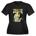 La Goulue Women's Plus Size V-Neck Dark T-Shirt
