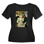 La Goulue Women's Plus Size Scoop Neck Dark T-Shir
