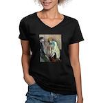 Stockings Women's V-Neck Dark T-Shirt