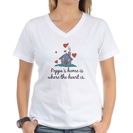 Poppa's Home is Where the Heart Is Women's V-Neck