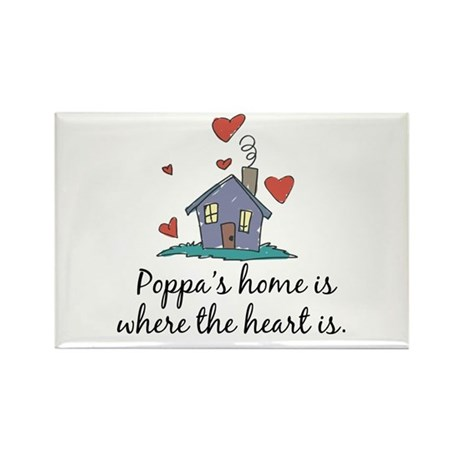 Poppa's Home is Where the Heart Is Rectangle Magne