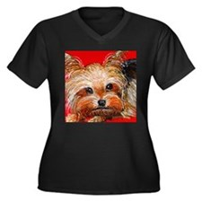 dog_yorkie_q01 Women's Plus Size V-Neck Dark T-Shi