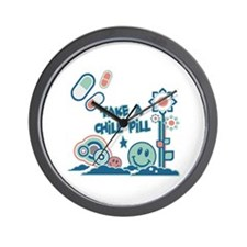 Chill Pill Retro Collage Design Wall Clock