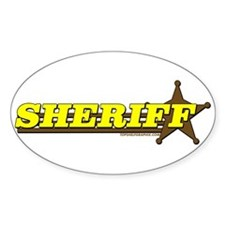 SHERIFF ~ YELLOW-BROWN Oval Sticker (50 pk)