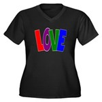 LOVE & Friendship Women's Plus Size V-Neck Dark T-