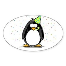 Party Penguin Oval Decal