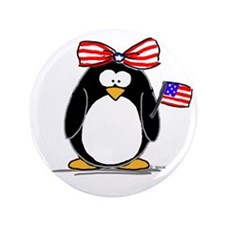 "Patriotic Girl penguin 3.5"" Button"