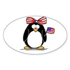 Patriotic Girl penguin Oval Decal