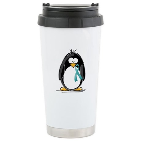 Teal Ribbon Penguin Ceramic Travel Mug