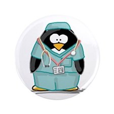 "Surgeon Penguin 3.5"" Button"