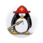 "Fireman penguin 3.5"" Button"