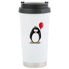 Red Balloon Penguin Ceramic Travel Mug