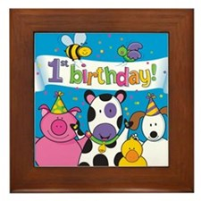 1st Birthday Party Animals Framed Tile