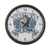 Save the Penguins Maryland Large Wall Clock