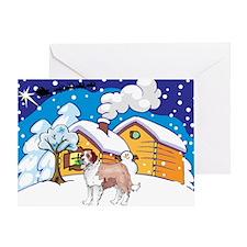 Log Cabin St Bernard Greeting Card