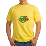 Retro Aeroplane Jet Plane Yellow T-Shirt