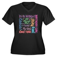 It's My Birthday Women's Plus Size V-Neck Dark T-S