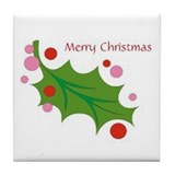 Festive Christmas Leaf Tile Coaster