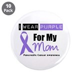 "I Wear Purple For My Mom 3.5"" Button (10 pack)"