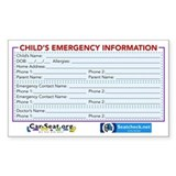 Car-Seat.Org Emergency Information Decal