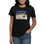 XmasSunrise/2 Cavaliers (t) Women's Dark T-Shirt