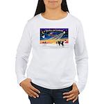 XmasSunrise/2 Cavaliers (t) Women's Long Sleeve T-
