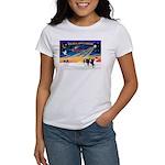 XmasSunrise/2 Cavaliers (t) Women's T-Shirt