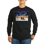 XmasSunrise/2 Dachshunds Long Sleeve Dark T-Shirt