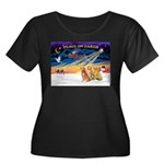 XmasSunrise/3 Goldens Women's Plus Size Scoop Neck