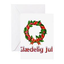 Glædelig Jul Wreath Greeting Cards (Pk of 10)