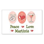 Peace Love Martini Rectangle Sticker 10 pk)