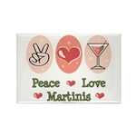 Peace Love Martini Rectangle Magnet (100 pack)
