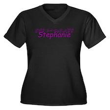 Stephanie Women's Plus Size V-Neck Dark T-Shirt