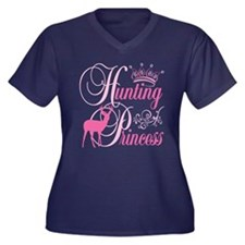 Hunting Princess Women's Plus Size V-Neck Dark T-S