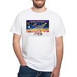 XmasSunrise/3 Whippets White T-Shirt