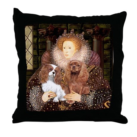 Queen/2 Cavaliers (Bl+R) Throw Pillow