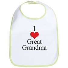 I Love (Heart) Great Grandma Bib